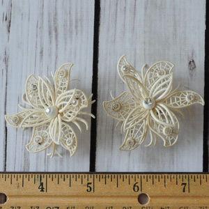 vtg West Germany soft rhinestone flower earrings